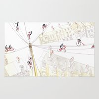 cycling Area & Throw Rugs featuring Cycling in London by maddi cauraro
