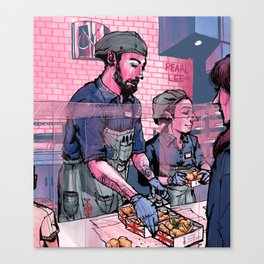 Pearl Lee Art: Scene at Ramsay's Fish and Chips Restaurant Canvas Print
