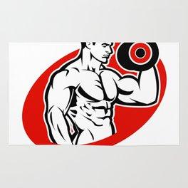 man fitness logo Rug