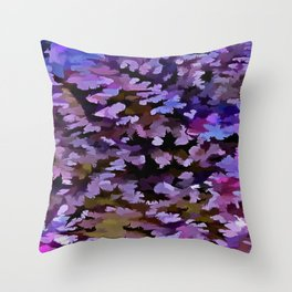 Foliage Abstract In Blue, Pink and Sienna Throw Pillow