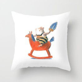 Always a child at heart - cute hamster on playhorse Throw Pillow