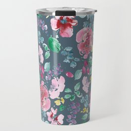 Pink Flowers on Gray Travel Mug