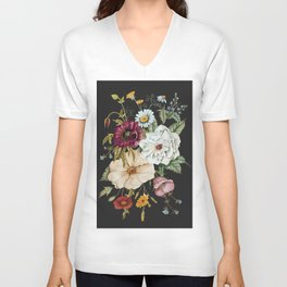 Colorful Wildflower Bouquet on Charcoal Black Unisex V-Neck
