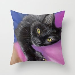 Black Cat with Yellow Eyes Throw Pillow