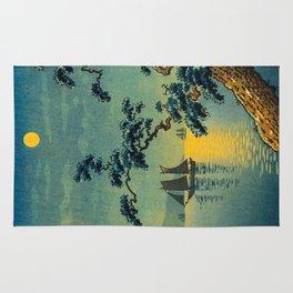 Tsuchiya Koitsu Maiko Seashore Japanese Woodblock Print Night Time Moon Over Ocean Sailboat Rug