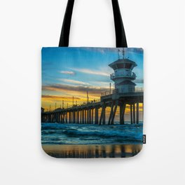 Winter Sunset at Huntington Beach Pier. Tote Bag