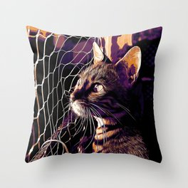 bengal cat yearns for freedom vector art late sunset Throw Pillow