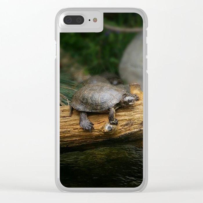 Turtle on a Log Clear iPhone Case