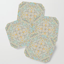Gypsy Floral in Soft Neutrals, Grey & Yellow on Sage Coaster