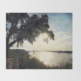 Mississippi River at Natchez Throw Blanket