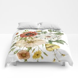 Wildflower Bouquet on White Comforters