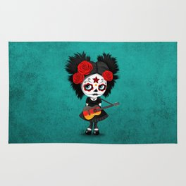 Day of the Dead Girl Playing German Flag Guitar Rug