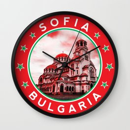 Sofia, Bulgaria, Alexander Nevsky Cathedral, circle, red Wall Clock