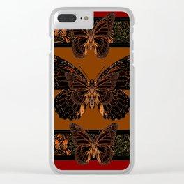 BLACK  MONARCH BUTTERFLIES,COFFEE BROWN-BURGUNDY ART Clear iPhone Case