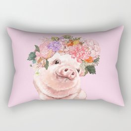 Baby Pig with Flowers Crown Rectangular Pillow