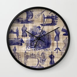 Vintage Sewing Toile Wall Clock