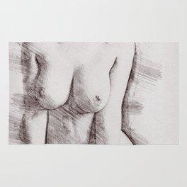 Naked Woman Pencil Drawing Rug