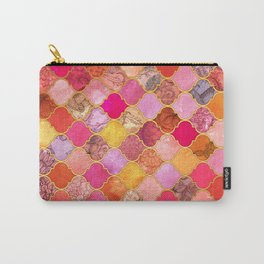 Hot Pink, Gold, Tangerine & Taupe Decorative Moroccan Tile Pattern Carry-All Pouch