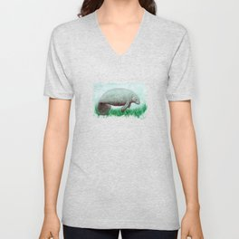 """""""The Manatee"""" by Amber Marine ~ Watercolor Painting, (Copyright 2015) Unisex V-Neck"""