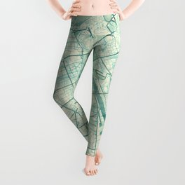 Warsaw Map Blue Vintage Leggings