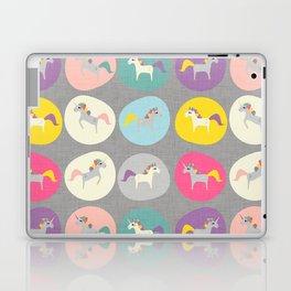 Cute Unicorn polka dots grey pastel colors and linen texture #homedecor #apparel #stationary #kids Laptop & iPad Skin