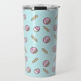 Cute funny teal blush pink food sweet donuts polka dots Travel Mug