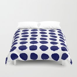 Aria - indigo brushstroke dot polka dot minimal abstract painting pattern painterly blue and white  Duvet Cover