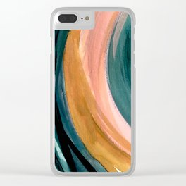 Breathe: a vibrant bold abstract piece in greens, ochre, and pink Clear iPhone Case