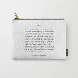 Life quote F. Scott Fitzgerald Carry-All Pouch