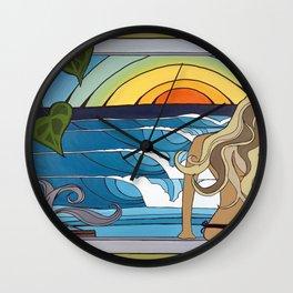 Woman in the Window Surf Art by Lauren Tannehill Art Wall Clock