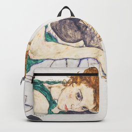Girl sitting with knees up by Egon Schiele Backpack