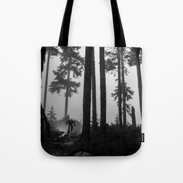 Mountain Biker in the Misty Bike Park Tote Bag