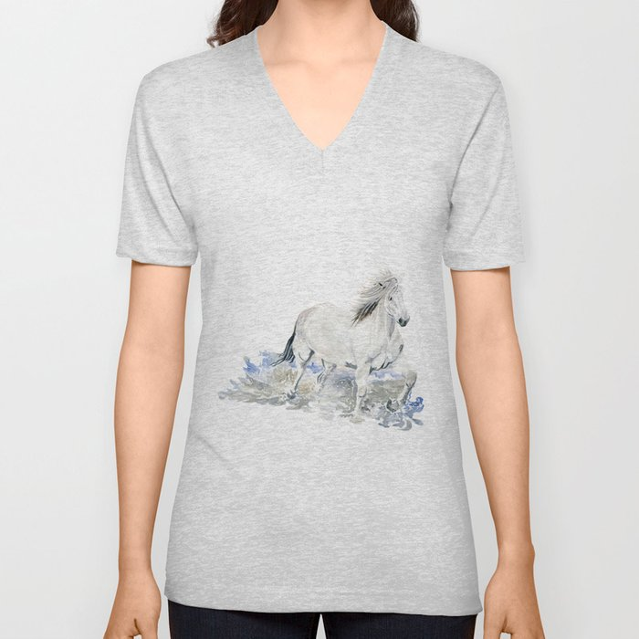Wild White Horse Unisex V-Neck