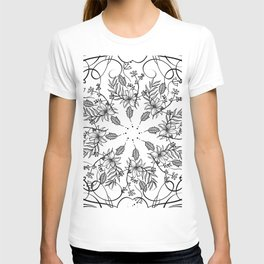 BLACK AND WHITE FLORAL MANDALA T-shirt