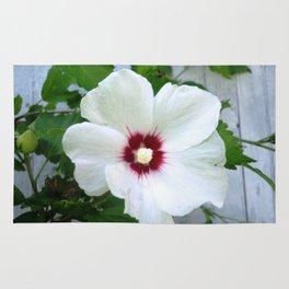 White Hibiscus Flower Ruffle Rug