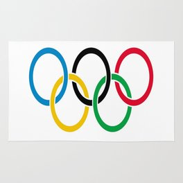 Flag of olympics games-olympic,olympic game,sport,coubertin, circles,medal,fun,international Rug