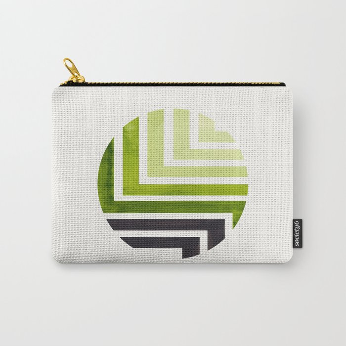 Sap Green Circle Round Framed Mid Century Modern Aztec Geometric Pattern Maze Carry-All Pouch