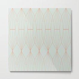 Geometry art decó in blue and orange Metal Print