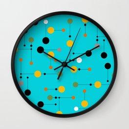 Mini Dot line Dot in Aqua Wall Clock