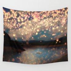 Love Wish Lanterns Wall Tapestry