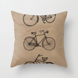 Vintage bicycle artwork Throw Pillow