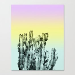 Cactus in violet, green and yellow Canvas Print