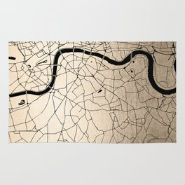 London Gold on Black Street Map II Rug