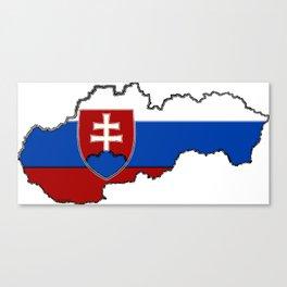 Slovakia Map with Slovakian Flag Canvas Print