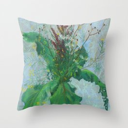 Burdock leaves and autumn herbs Throw Pillow