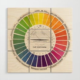 Vintage Color Wheel - Art Teaching Tool - Rainbow Mood Chart Wood Wall Art