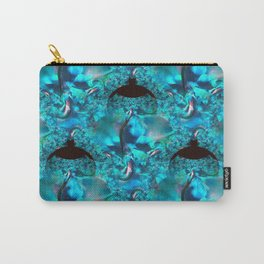 Blue Ornate Leaf Fractal Carry-All Pouch