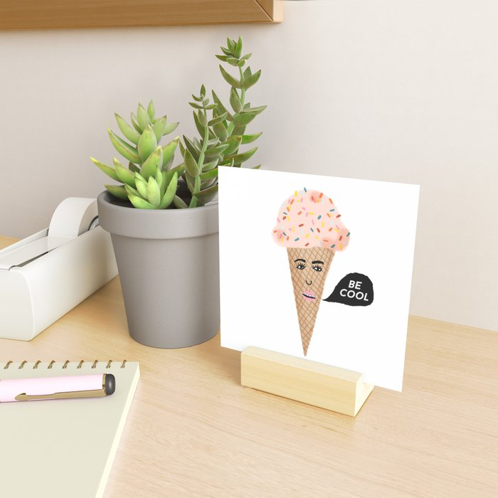 BE COOL Talking Pink Ice Cream Lady Mini Art Print