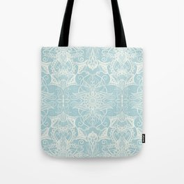 Floral Pattern in Duck Egg Blue & Cream Tote Bag
