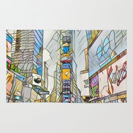 NYC Life in Times Square Rug